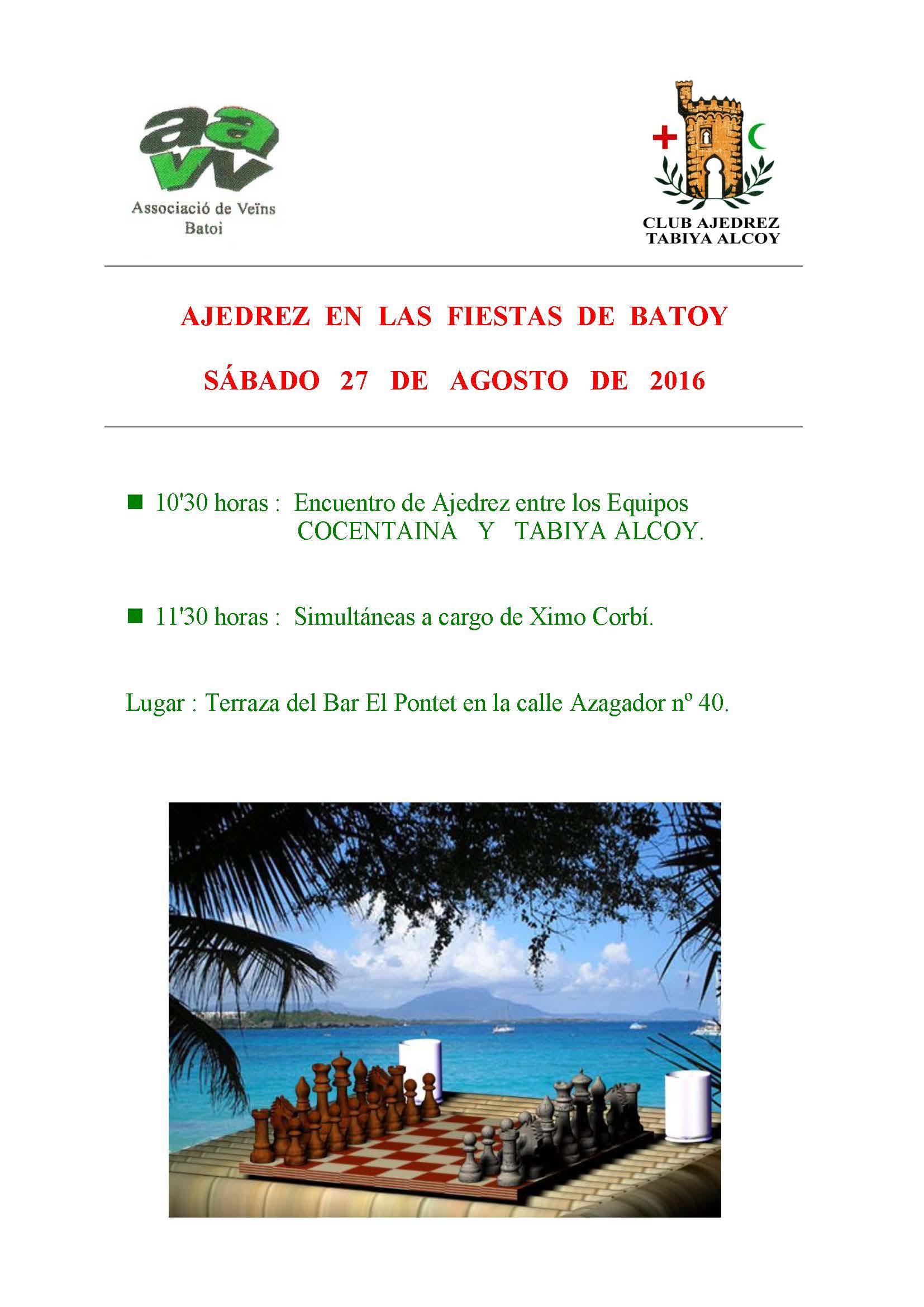 AJEDREZ EN LAS FIESTAS DE BATOY 2016