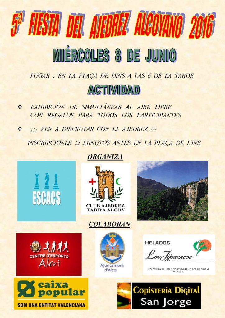 Cartel 5ª Fiesta del Ajedrez Alcoyano 2016